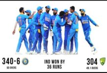 India beat Australia by 36 runs